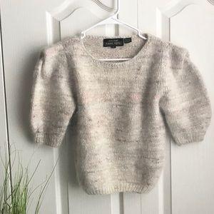 Vintage Angora Puff Sleeve Sweater Top Sz Medium